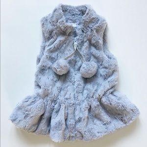 Mudpie MED Grey Silky Soft Faux Fur Vest w/ Poms